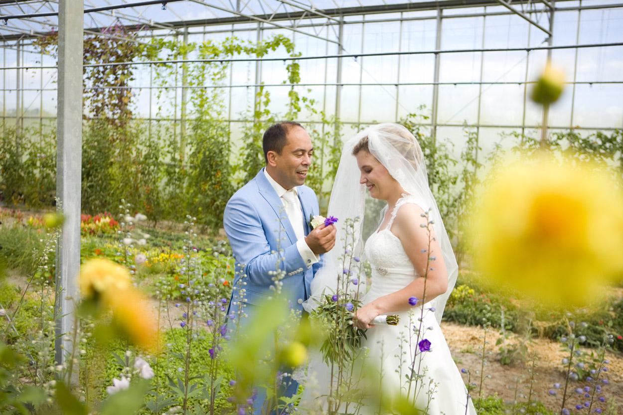 Bruidsfotografie bruiloft trouwreportage bruidspaar bloemen kas Noordwijk Buiten spontane trouwreportage Noordwijkerhout
