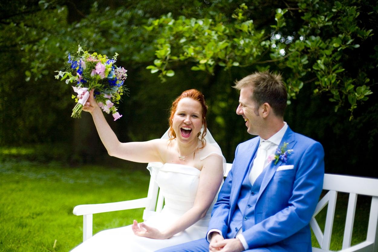 Bruidsfotografie bruiloft bruid ceremonie buiten Hertenhorst Delft