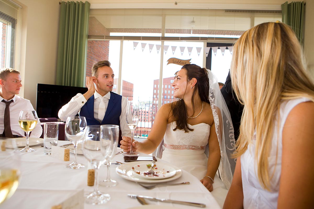 Diner eettafel bruiloft Raadhuis Leidschendam en Witte Paard Nootdorp