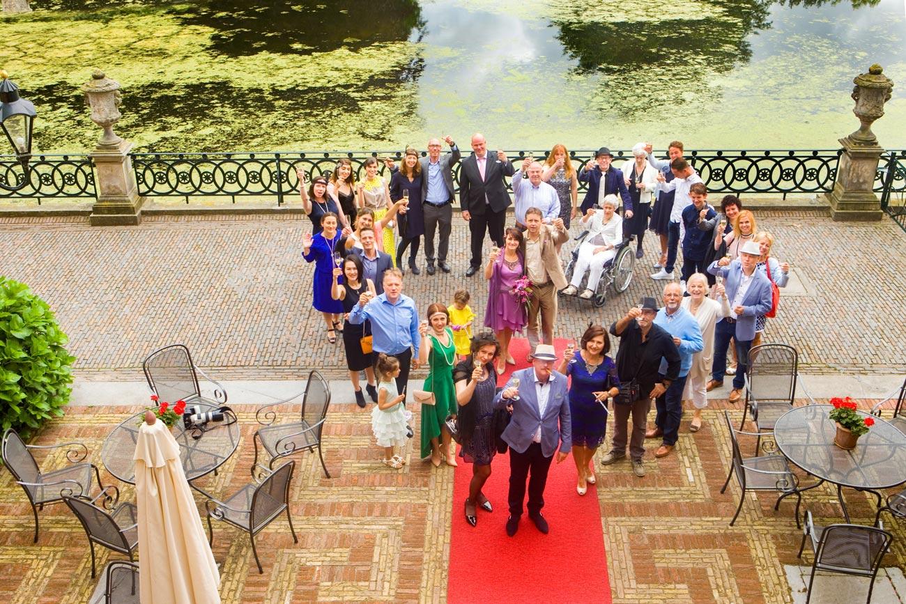 bruiloft groepsfoto Kasteel Duivenvoorde Voorschoten